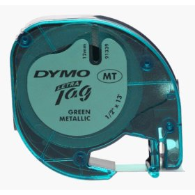 Лента для LetraTag 12 ммх4 м , пластиковая, зеленый металик, 1 шт в блистере