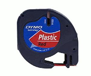 Лента для LetraTag 12 ммх4 м , пластиковая, красная, 1 шт в блистере