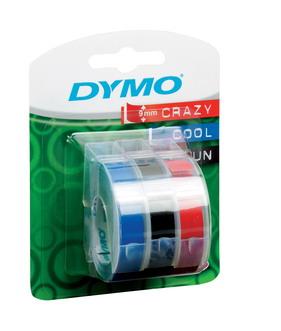 Лента для механических принтеров, ширина 9 мм, длина 3м, пластиковая ассортимент (черный, синий, красный), 3 шт. в блистере
